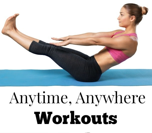 a woman exercising on a mat on the floor with title text reading Anytime, Anywhere Workouts