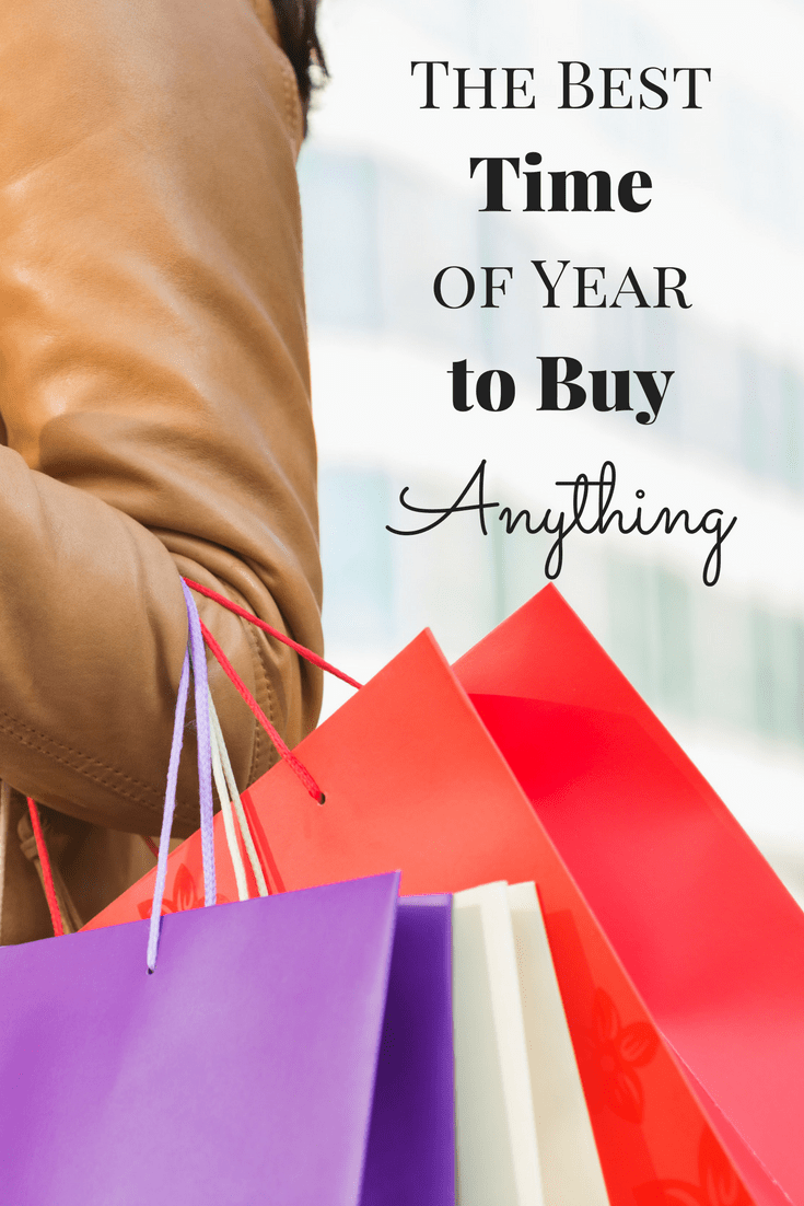 a lady's arm with a leather jacket on holding three shopping bags with title text reading The Best Time of Year to Buy Anything