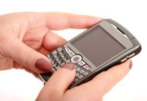 typing on blackberry phone