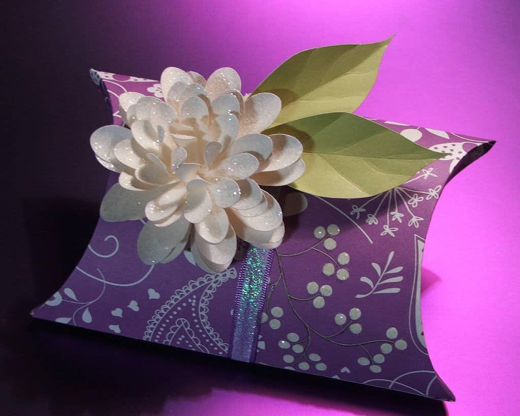 handmade purple gift box with pink flower