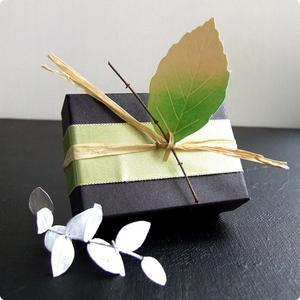 gift box packaging ideas. black box wrapped in twine with small stick and leaf