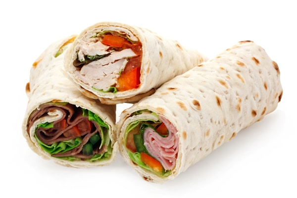 three different lunchmeat wraps