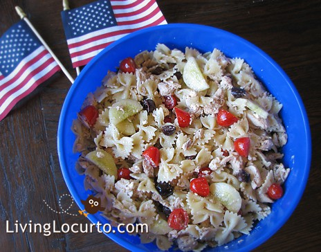 Greek Chicken Pasta Salad from Blissfully Domestic