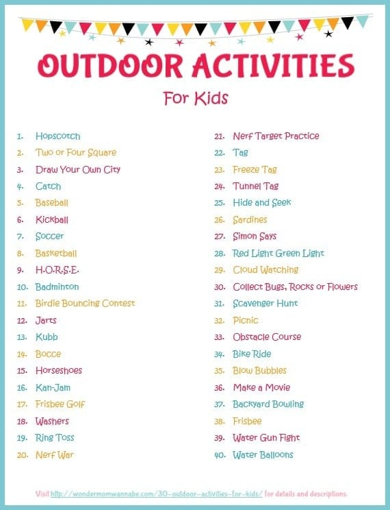 printable list of 40 outdoor activities for kids