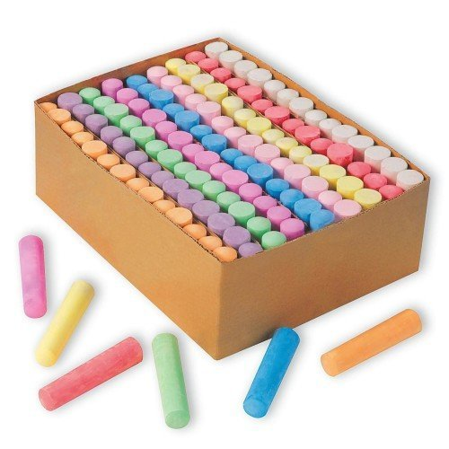 a box of multi-colored sidewalk chalk next to more sidewalk chalk on a white background