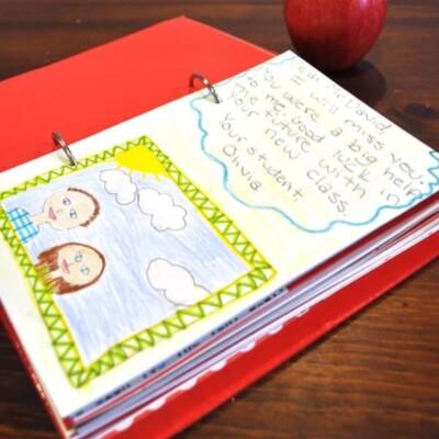 Teacher Scrapbook with apple on table