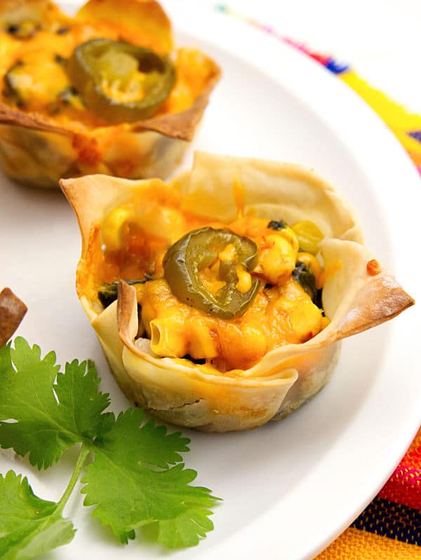 These chicken enchilada cups are so yummy and really easy to make! They work both as a tasty appetizer or kid-friendly dinner since the kids can choose their own ingredients. #appetizers #fingerfoods #Mexicanrecipes via @wondermomwannab