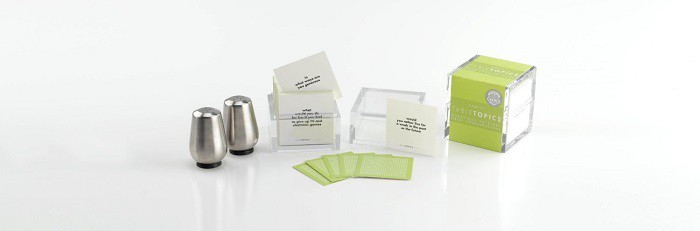 salt and pepper shaker, tabletopics cards and box, all on a white background