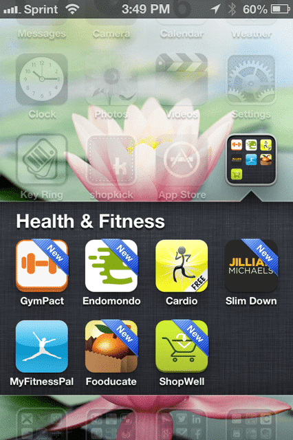 Health & Fitness Apps on phone screen