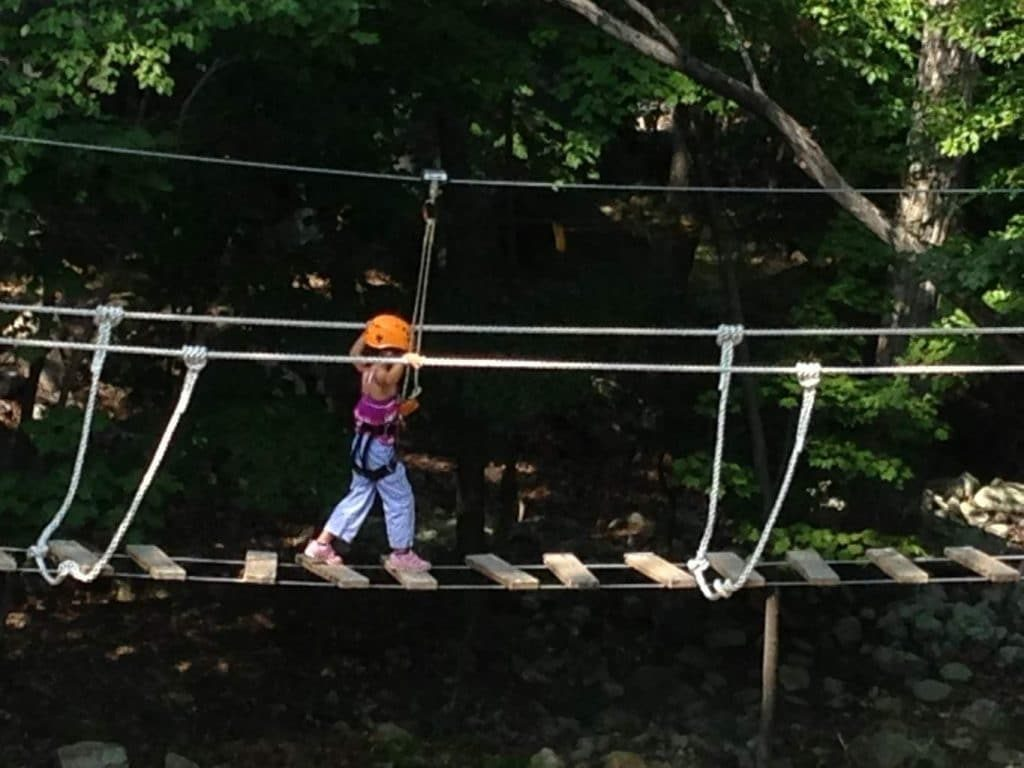 crossing the rope bridge obstacle course