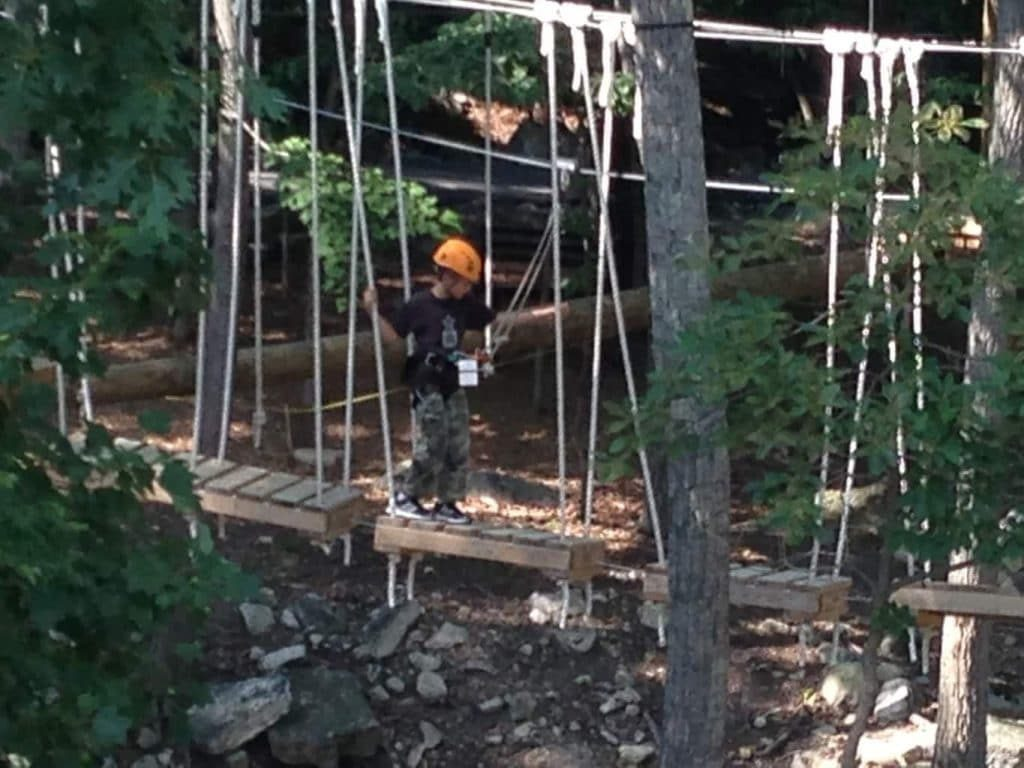 crossing a swinging bridge obstacle course