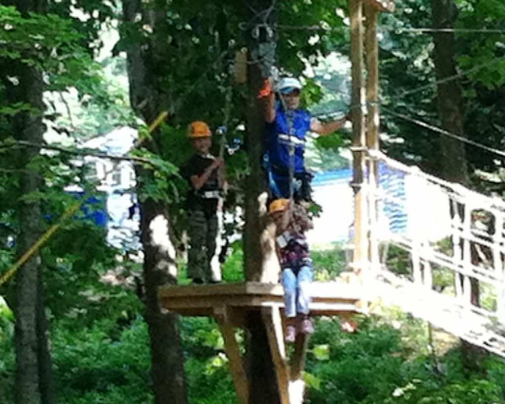 Coming down the zip line!