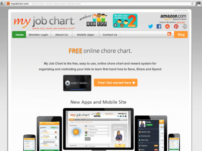 My job chart online for electronic chore chart