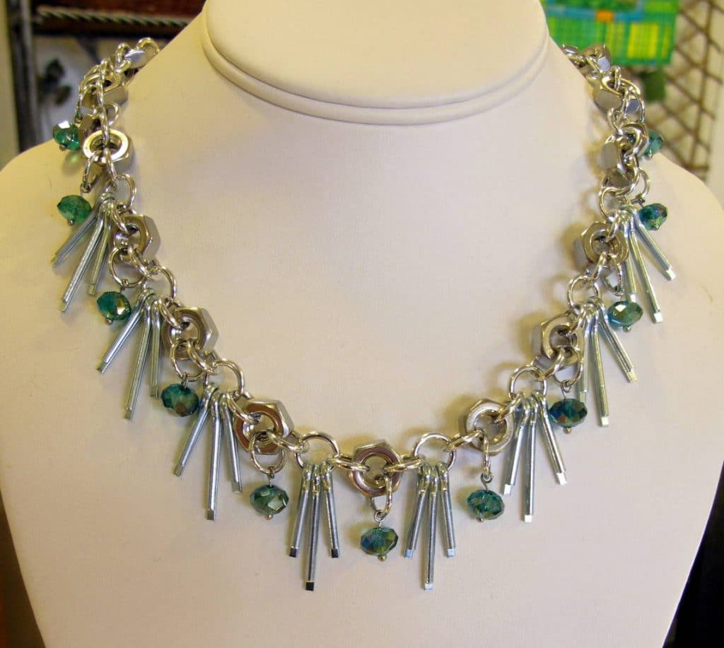 Cotter Pin Necklace on mannequin