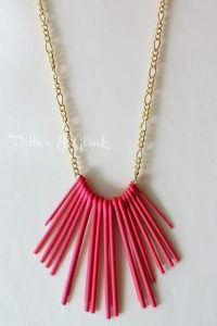 neon necklace made from cotter pins