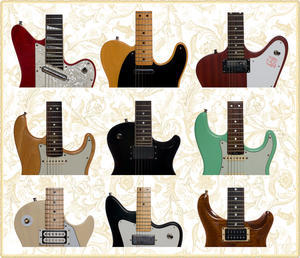 various colors and guitar designs