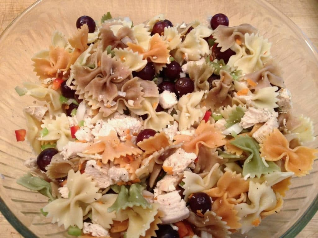 Chicken Pasta Salad Combined Ingredients