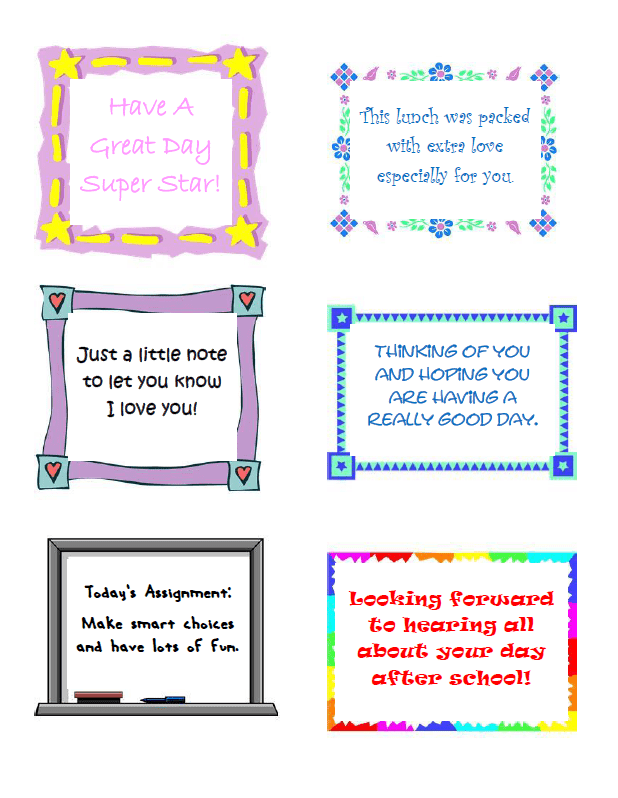 printable Lunch Notes Color