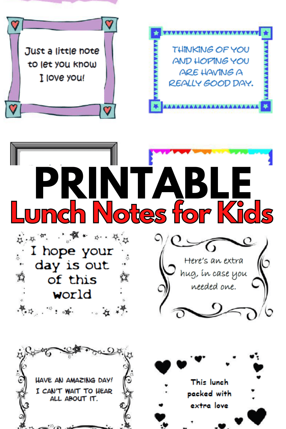Stay connected to your kids while they're at school by including printable lunch notes in their lunch box to let them know you care. #lunchnotes #forkids #freeprintable via @wondermomwannab