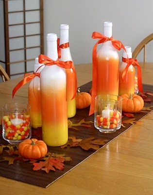 Candy Corn Centerpieces in bottles and jars