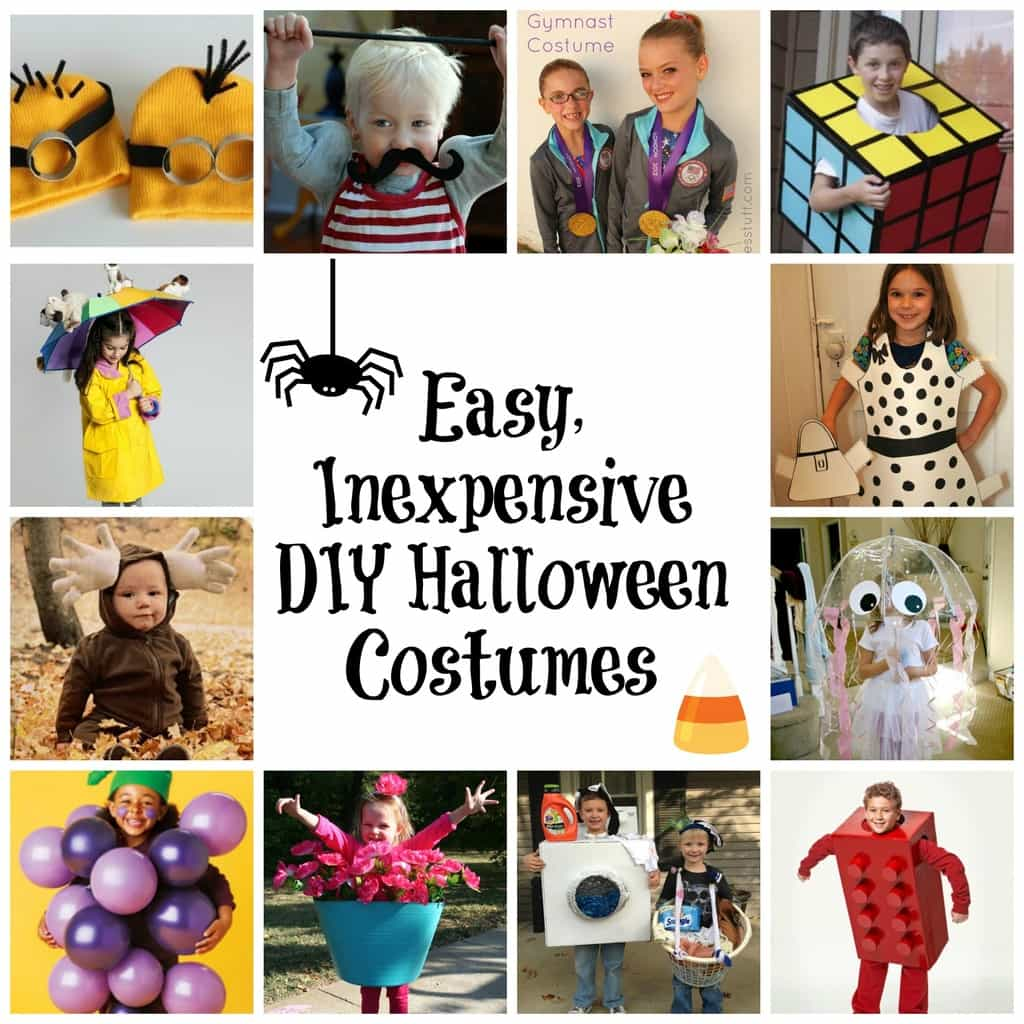 a collage of 12 different costume ideas with title text reading Easy, Inexpensive DIY Halloween Costumes