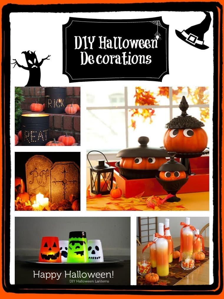 a collage of Halloween decorations with title text reading DIY Halloween Decorations