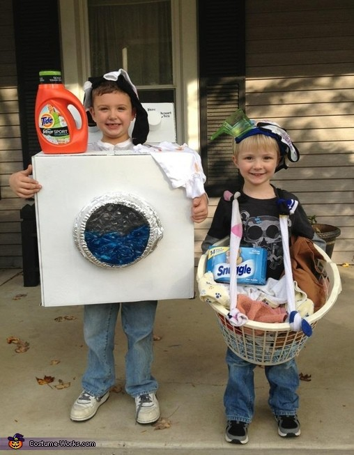 two boys wearing a Dirty Laundry Costume