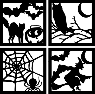 halloween window silhouettes template easy inexpensive diy decor 22067 | Four Sided Halloween Silhouette Squares
