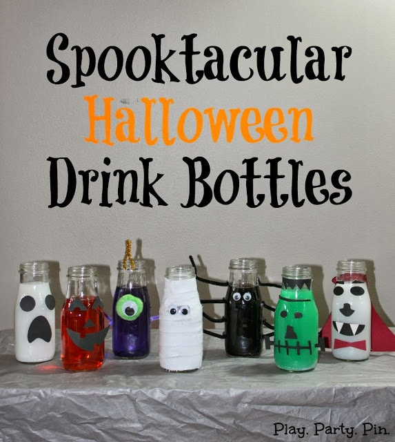 Halloween Drink Bottles with title text reading Spooktacular Halloween Drink Bottles