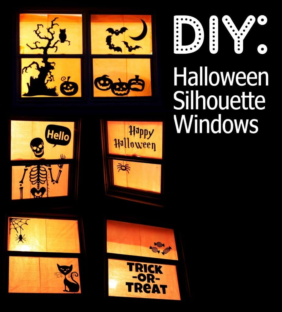 a collage of six different diy Halloween decor on windows with title text reading DIY Halloween Window Silhouettes