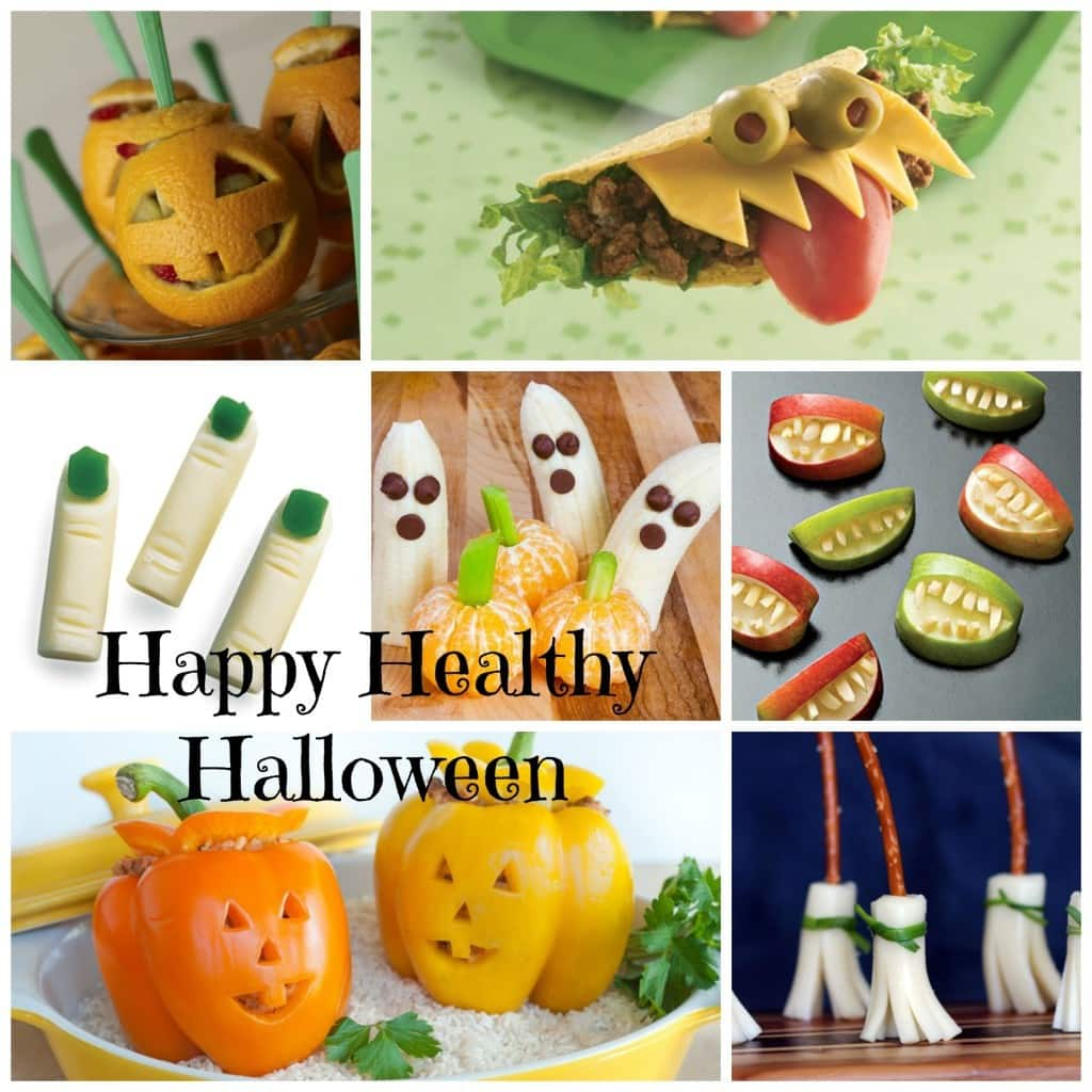a collage of seven different snack ideas with title text reading Happy Healthy Halloween