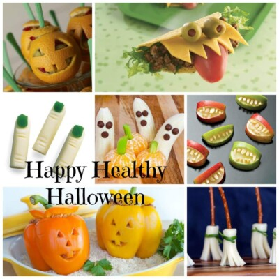 Collage of healthy Halloween snacks
