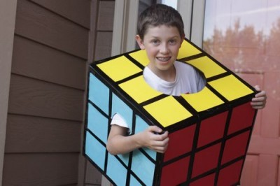 a boy wearing a Rubik's Cube Costume