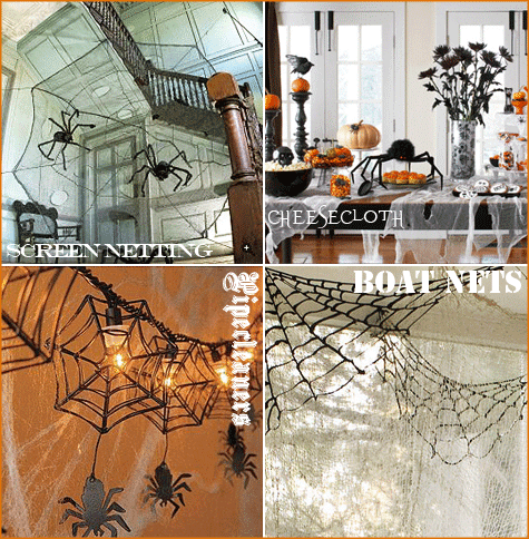 a collage of Spiderwebs decorating homes for diy Halloween decor