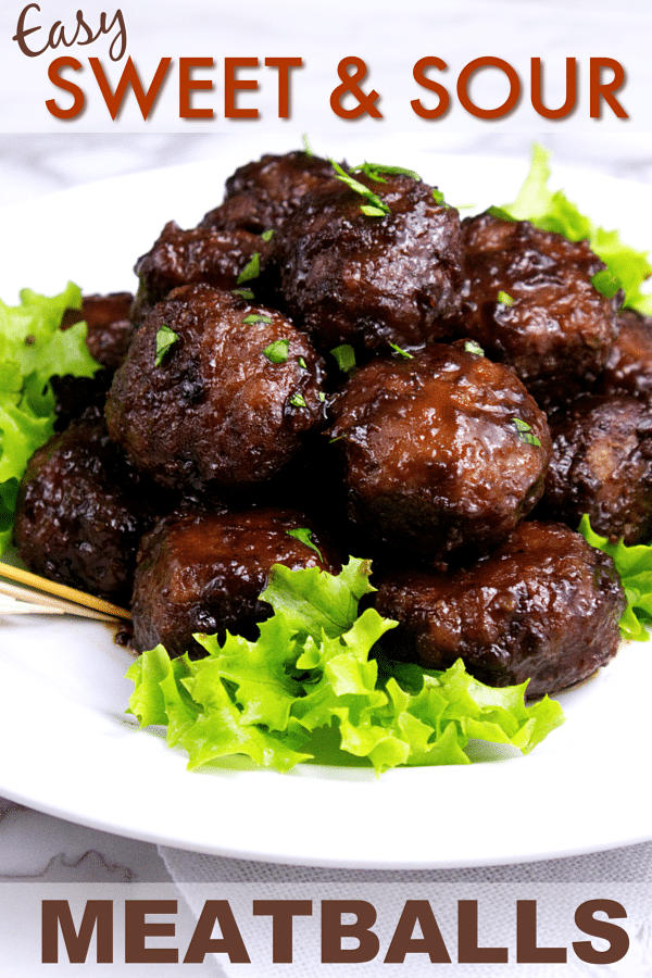 meatballs on lettuce on a plate with title text reading Easy Sweet & Sour Meatballs