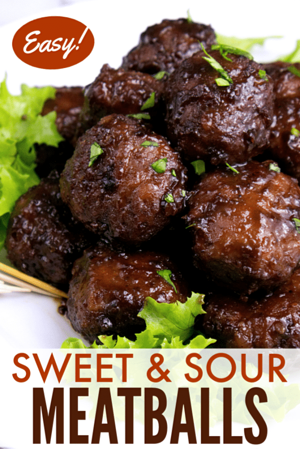 meatballs on lettuce on a plate with title text reading Sweet & Sour Meatballs