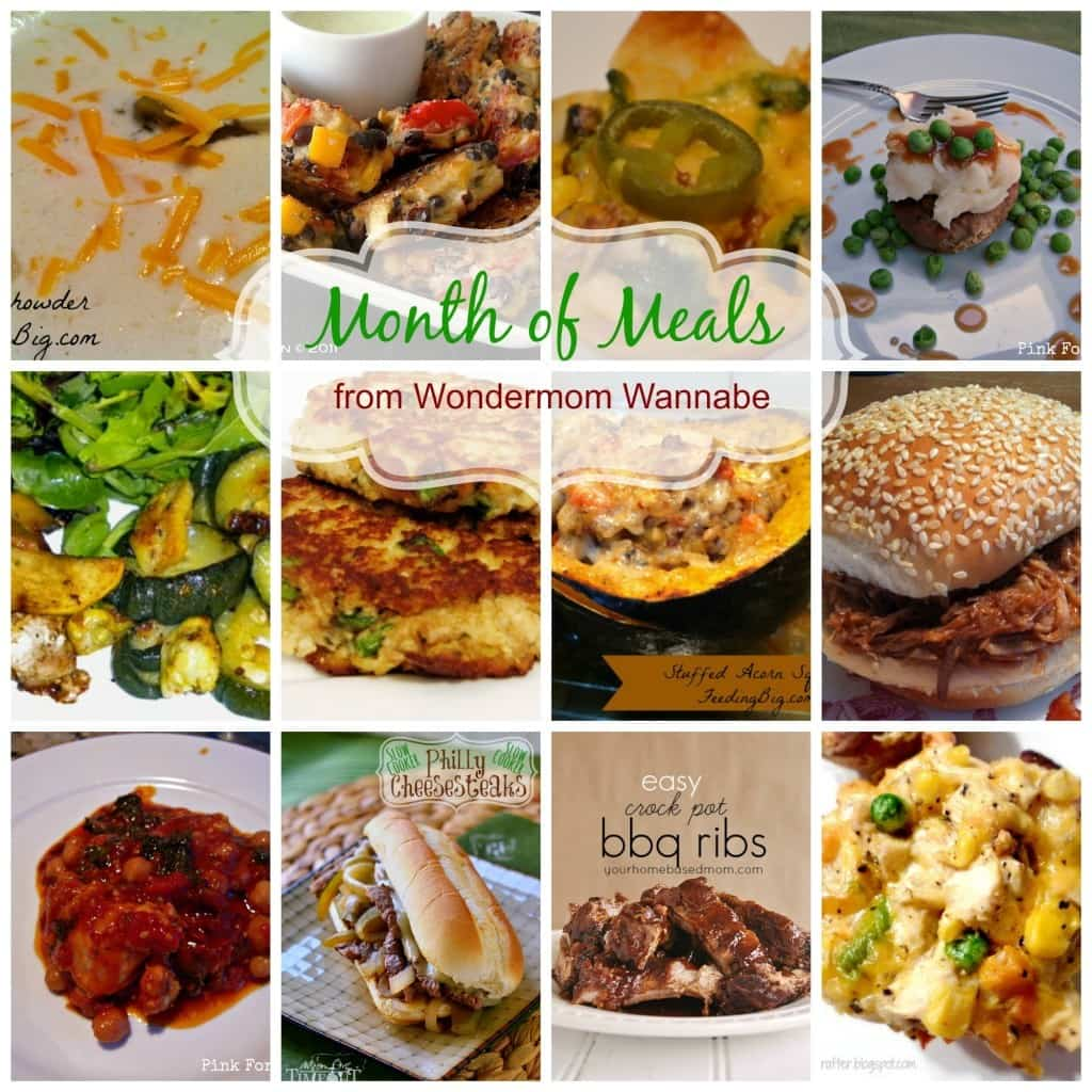 a collage of twelve different dinners with title text reading Month of Meals from Wondermom Wannabe
