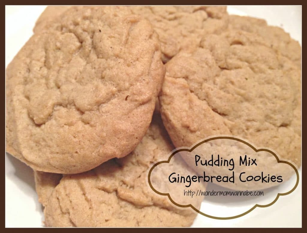 a stack of cookies with title text reading Pudding Mix Gingerbread Cookies