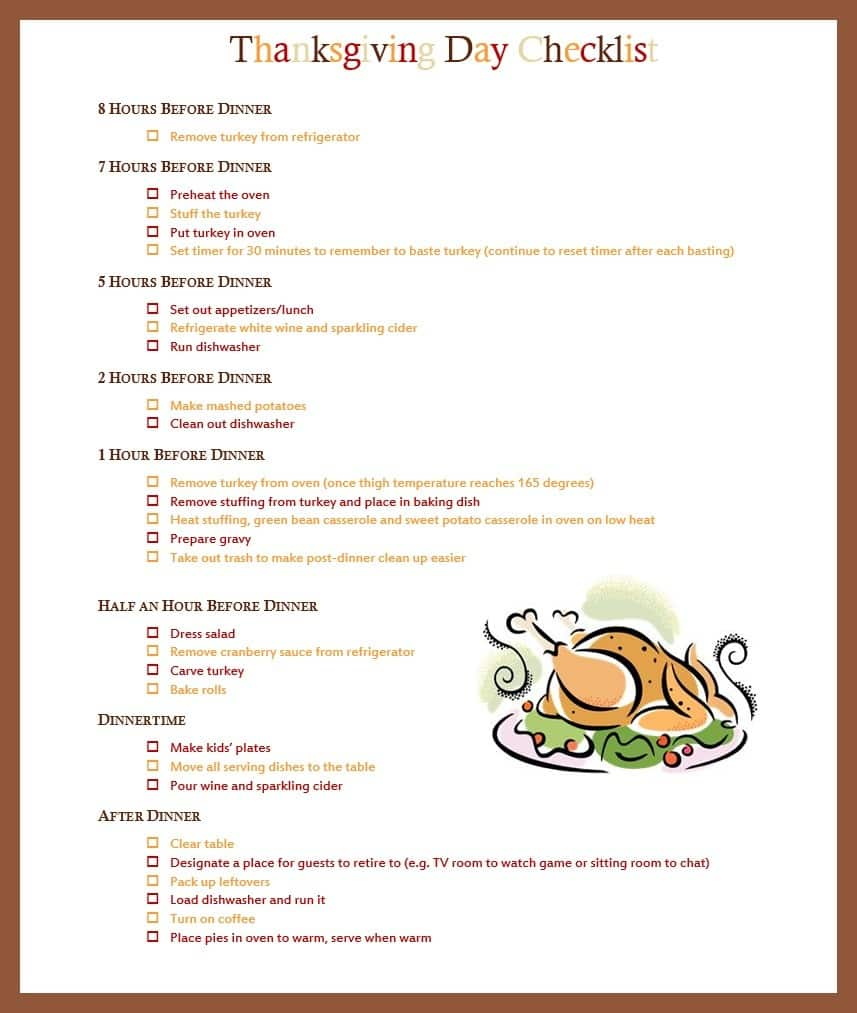 Thankgiving Day Checklist