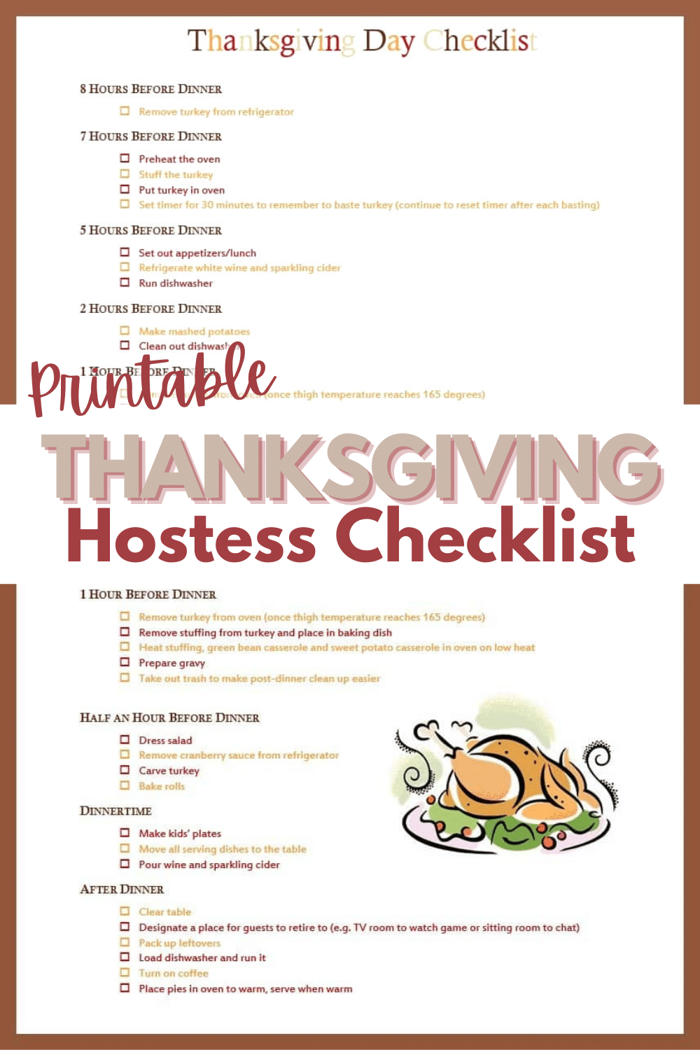 This 3-page Thanksgiving Checklist will help you plan every detail of your holiday feast so that you'll still have time to enjoy your own party. #thanksgiving #thanksgivingdinner #checklist #printable via @wondermomwannab