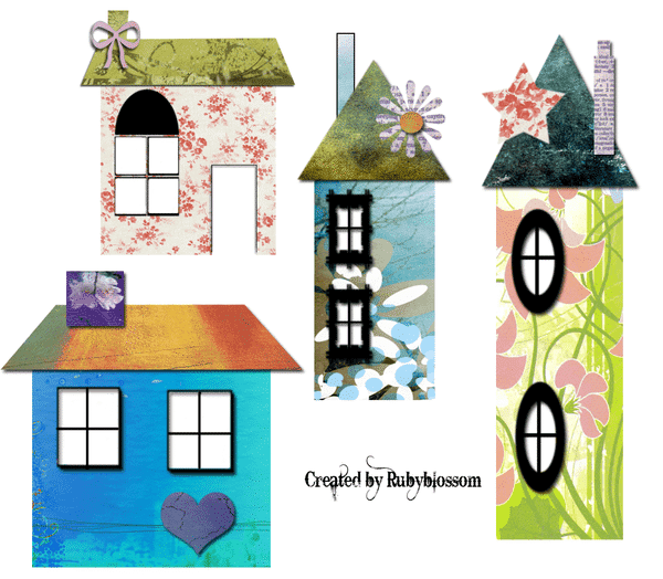 graphics of four different colored houses