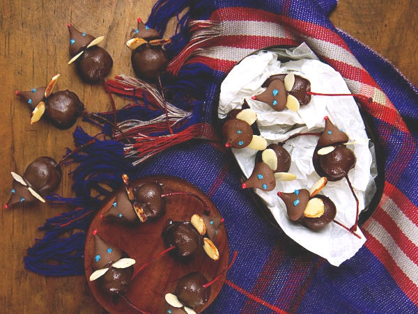 overhead view of Chocolate Covered Cherry Mice on various bowls and on a table