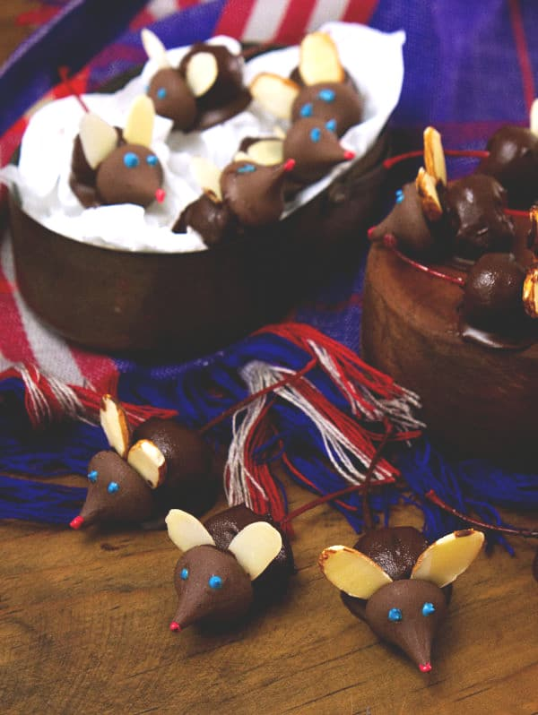 Chocolate Covered Cherry Mice on various bowls and on a table
