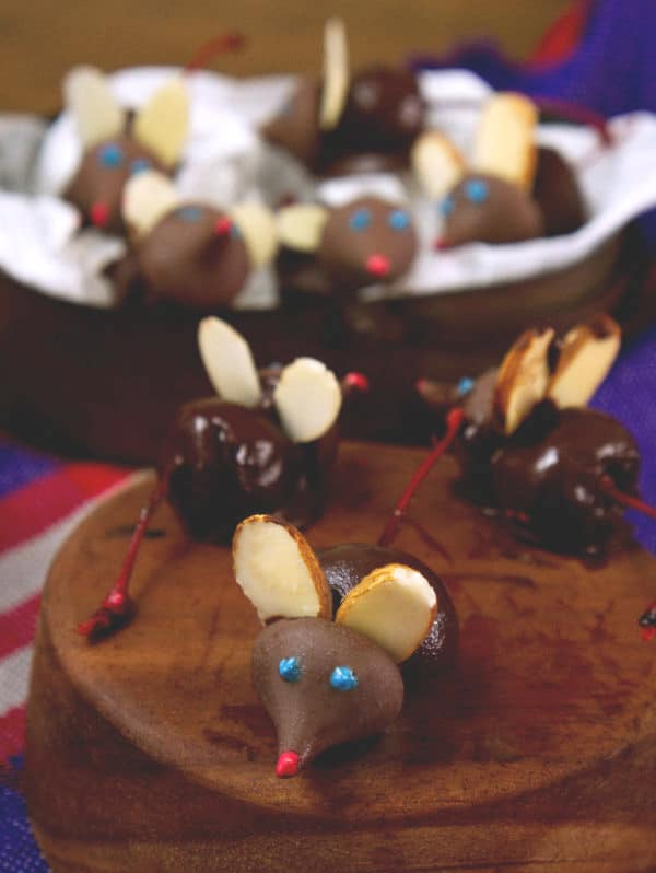 Chocolate Covered Cherry Mice on various bowls