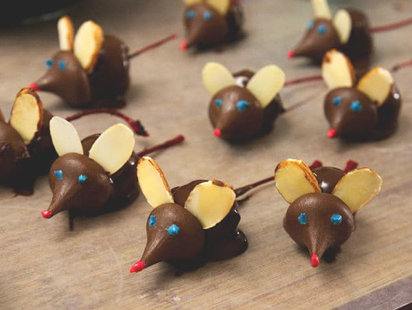 chocolate covered cherries decorated with chocolate kisses and sliced almonds to look like mice