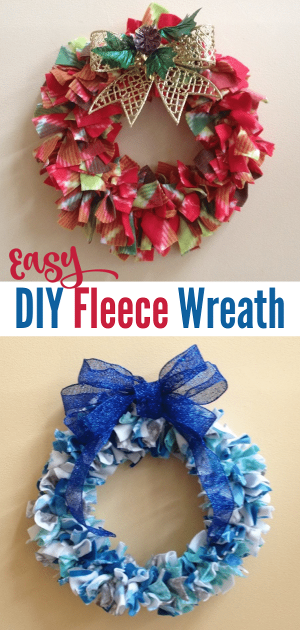 a red and green and a blue wreath with title text reading Easy DIY Fleece Wreath