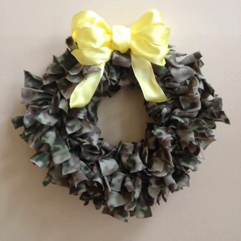Camo Wreath with a yellow bow