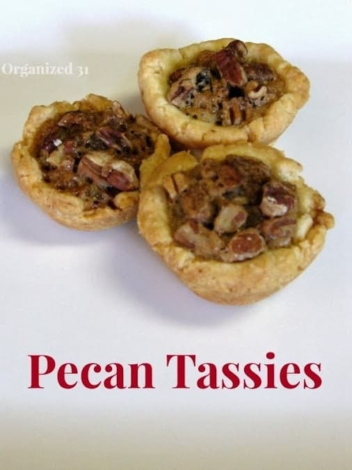 Pecan Tassies on a white background