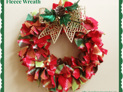 Red and green fleece wreath with sparkly gold wreath