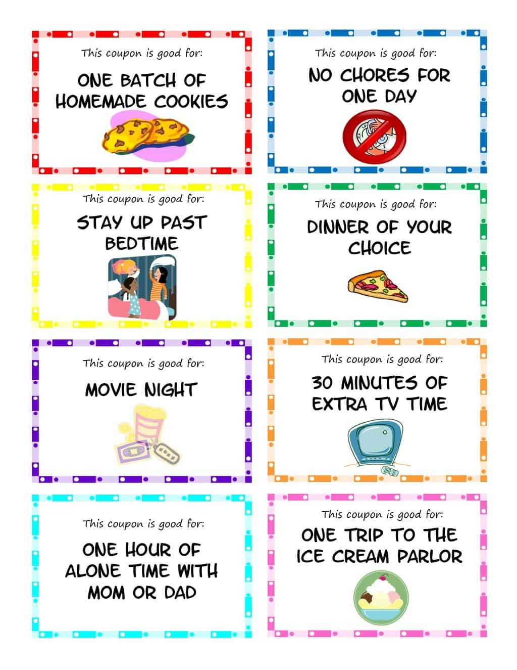 Printable kid coupons to use as stocking stuffers, rewards or small gifts for your kids. Easy, inexpensive gift idea for children. #printables #kidcoupons #forkids #stockingstuffers